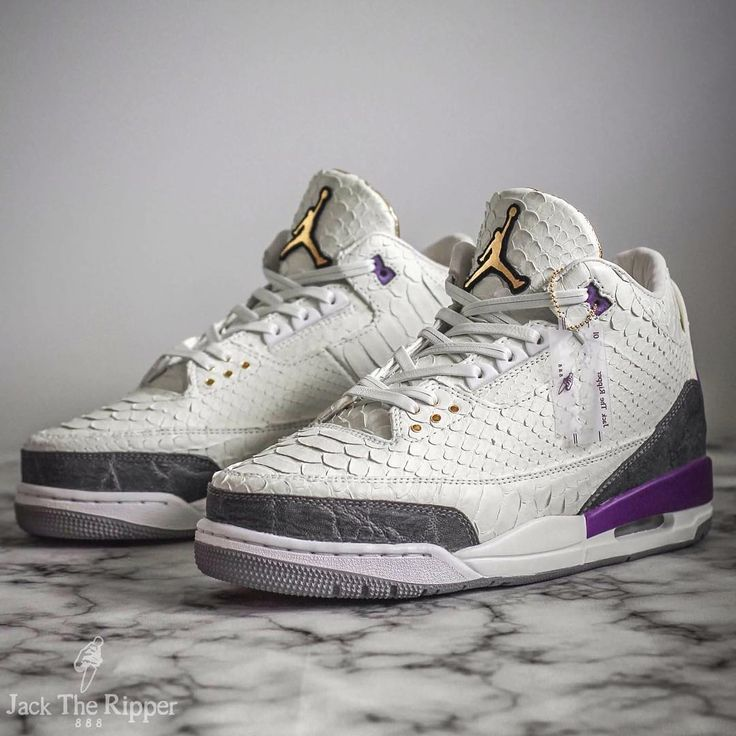 Air Jordan 3 Kobe Mamba Python Custom features a White Python upper with  elephant skin overlays, Gold Jumpman tongues and Purple Nike Air branding.