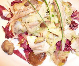 Salat aus Kastanien, Fenchel und geräucherter Forelle - Castagne, finocchio e trota affumicata