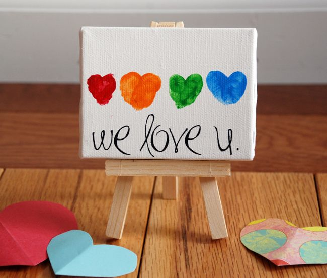 Fingerprint Hearts on mini Canvas and Art Easel (Jo-Ann's). Message is made from Rub-on Letters.