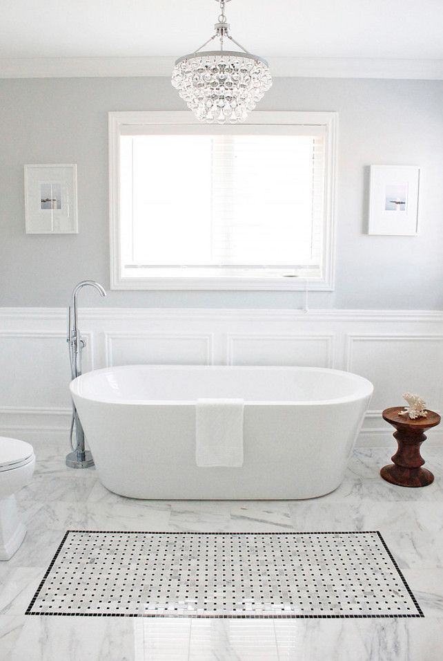""":: Havens South Designs :: if you use your marble on the floor, we could add a tile """"bathmat"""" in the gray and white mosaics with a gray border."""
