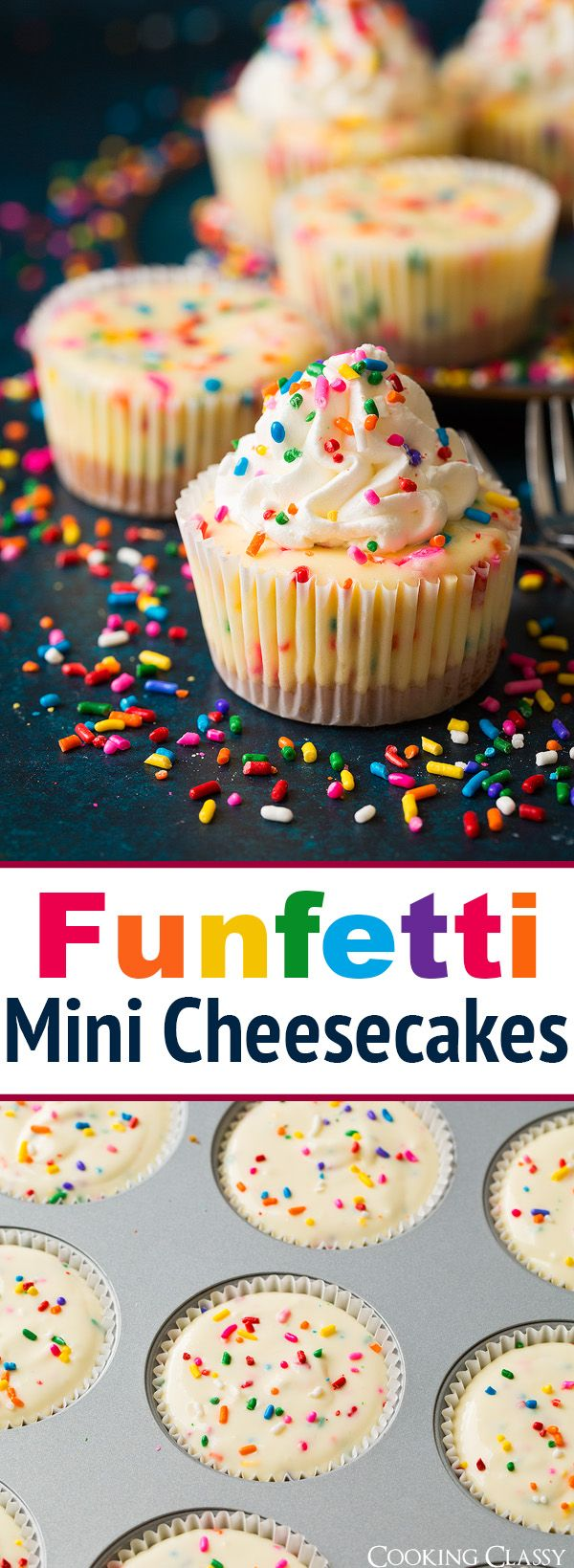 Funfetti Mini Cheesecakes - these are seriously delicious! Taste just like funfetti cake + the goodness of cheesecake.