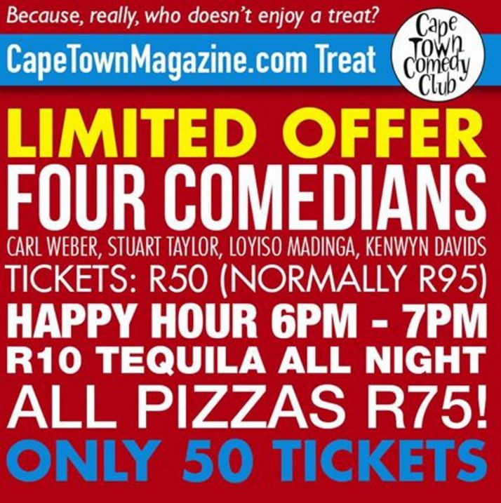 "TONIGHT - 50 SEATS ONLY! Everyone deserves to be spoiled every now and then, right?  Together with our friends at the Cape Town Comedy Club, we've put together a little treat for you and your friends. Call + 27 (0) 21 418 8880 now and reserve your seat by mentioning "" CapeTownMagazine.com TREAT""   So gather your mates for a night of good laughs, drinks and grub!  https://www.facebook.com/CapeTownMagazine"