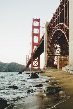 Golden Gate Bridge from base of northern face on San Francisco side