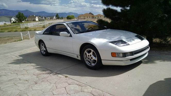 1993 Nissan 300 ZX 2+2 for sale.  Artic white, tan interior, after market spoiler, chrome wheels, about 112,000 miles, 90 percent freeway, excellent condition.  One owner, garaged only. Asking $7200.00 OBO