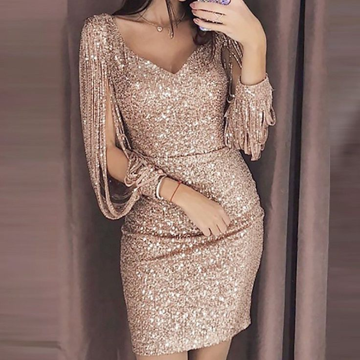 Women Sexy V Ncek Solid Sequined Glitter Stitching Shining Mini Dress Women Sexy V Ncek Solid Sequined Glitter Stitching Shining Mini Dress