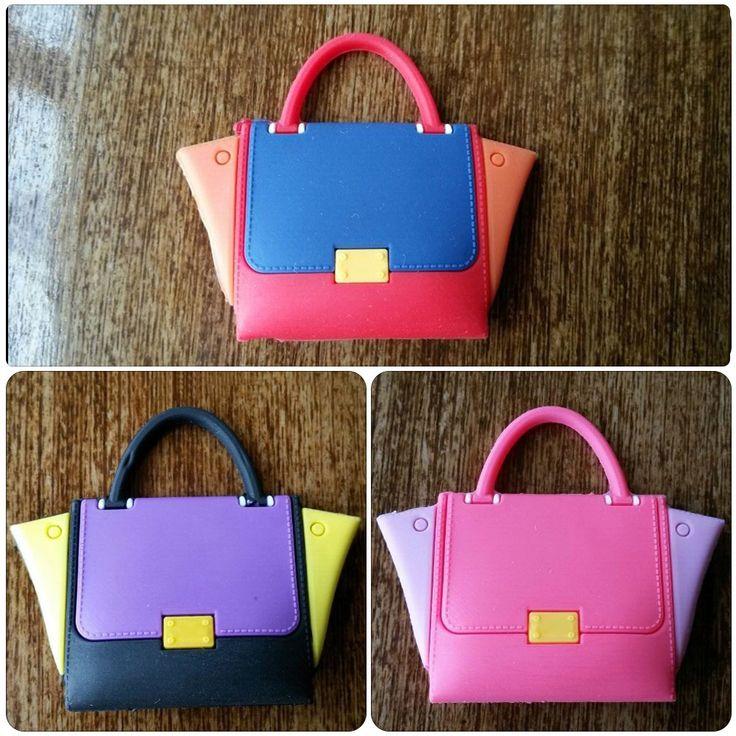 3 pieces 1:12 scale fashion classic plastic handbags doll accessories for BJD Blyth Pullip Licca Azone Barbi dolls accessories