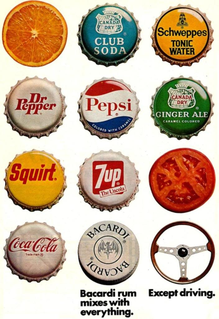 Bacardi ad 1973...love the other bottle caps!