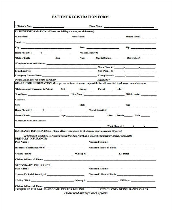 28 Dental Patient Registration Form Template In 2020