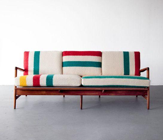 Hudson Bay Sofa — Teak frame designed by Ib Kofod-Larsen. New cushions upholstered in deadstock Hudson Bay blankets.