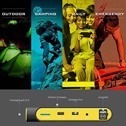 Beatit Avviatore di Emergenza 600A per Auto Jump Starter Caricabatterie 5,5 L benzina 4,0 L Diesel Outdoor veicolo emergenza Kit Booster batteria Charger 14000Mah portatile Powerbank Dual USB 3.0 2.1A alta velocità qiuck caricabatterie iphone 6 7/plus/cellulare/Tablet, bussola & SOS/torcia LED (Giallo): Amazon.it: Auto e Moto