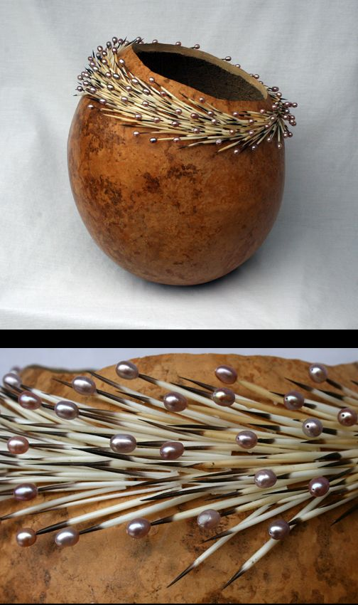 """GOURD #120"" by Ron King:   Gourd, porcupine quills, pearls"