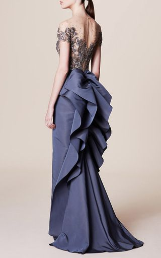 Illusion Bodice Column Gown by MARCHESA for Preorder on Moda Operandi