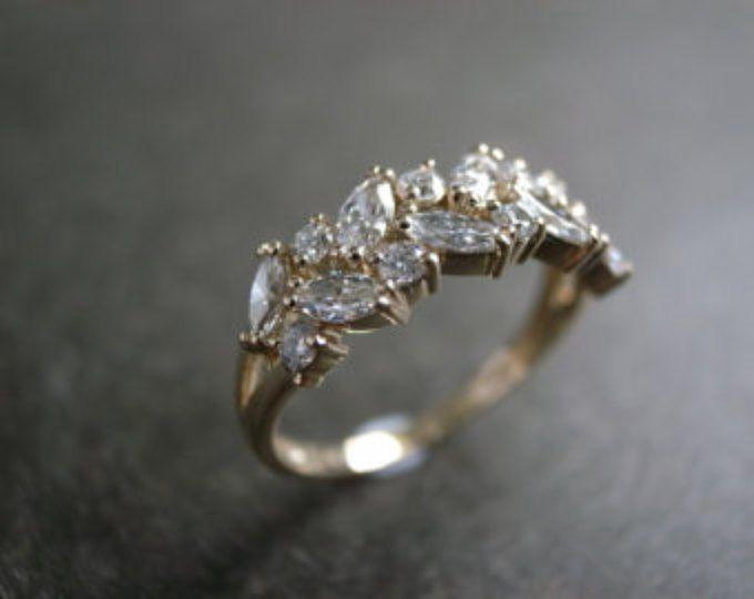Anillo de boda de la Marquesa / anillo de compromiso / Diamond Ring / Anillo de bodas de diamante / anillo Marquesa diamante compromiso anillo de 14K oro amarillo