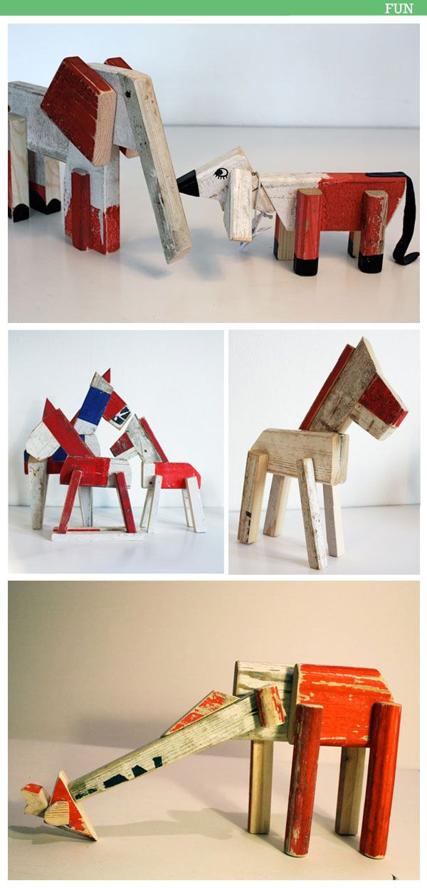 Wooden animals collection from recycled materials by Re:Something