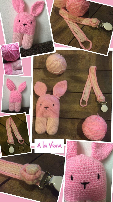Rammelaar speenkoord haken. #haken #Gehaakt. #Haak patroon van een konijn. #Diy #zelfgemaakt #baby #cadeau #kraamcadeau #amigurumi #inspiratie #crochet