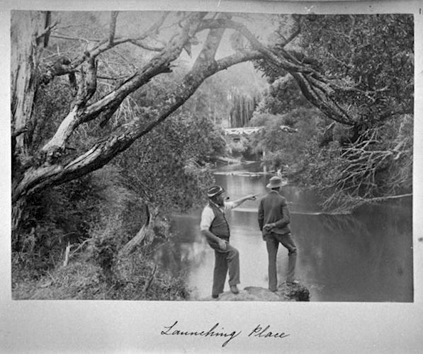 Two Men by the Yarra River, Archibald James Campbell, Launching Place, Victoria, circa 1900.