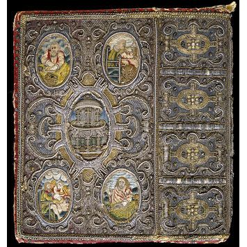 Book cover and book mark  (1634)  Satin covered board, embroidered with silver, silver-gilt-thread, purl and coil, and coloured silks, and plaited threads