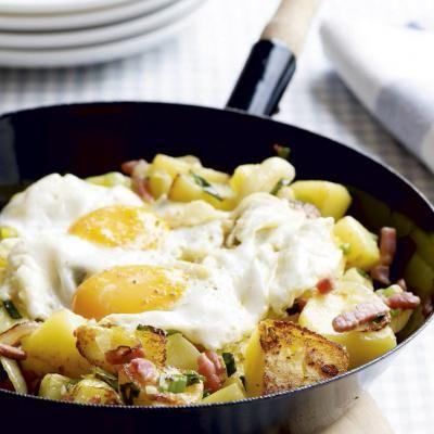 Met aardappelen en spek