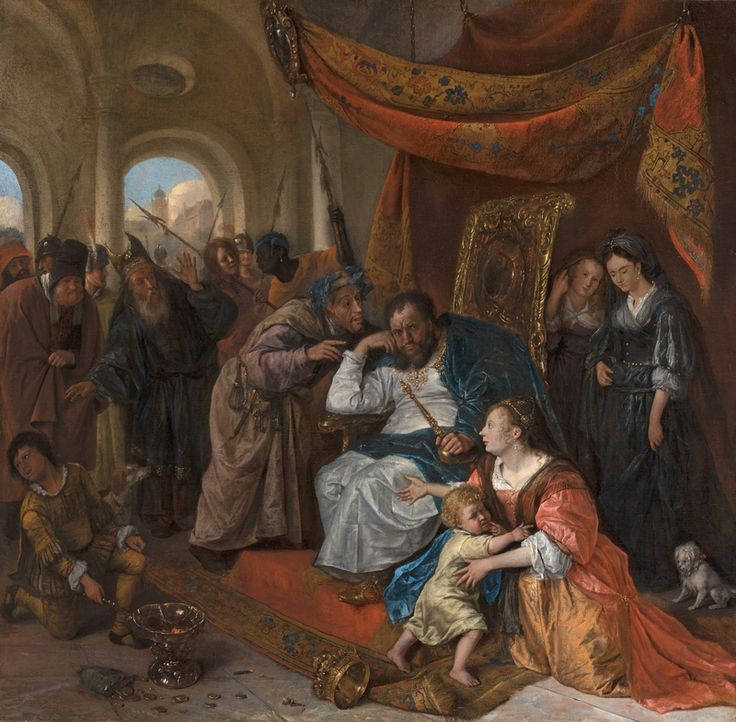 Jan Steen Moses And Pharaoh S Crown C 1670 Canvas 78 X 79 Cm Mauritshuis The Hague Acquired With The Support Of The Leyde Ancien Testament 17eme Siecle