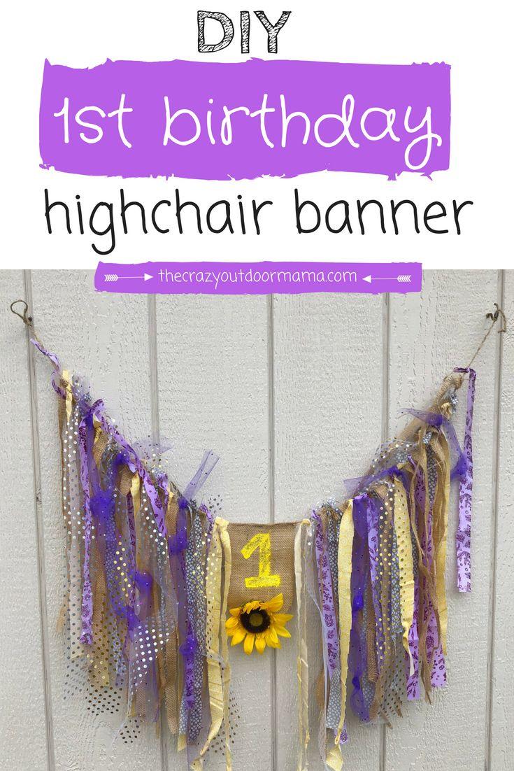 Diy cute shabby chic highchair banner tutorial for babys