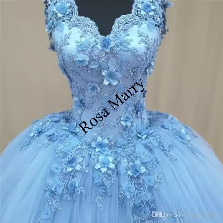 Light Blue 3D Floral 2018 Prom Dresses Ball Gown V Neck Vintage Lace Beaded Plus Size Arabic African Formal Quinceanera Evening Party Gowns Ball Gown Prom Dresses Arabic Prom Dresses 3D Floral Prom Dresses Online with $224.99/Piece on Sarah_bridal's Store | DHgate.com #vintagepromdresses