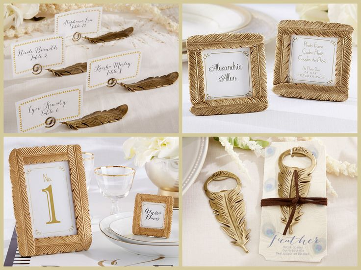 Gold Feather Wedding Favors from HotRef.com