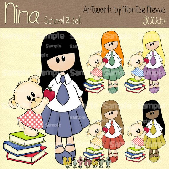 School Nina dolls 0271 digital clip art set images for by Withart, $4.50