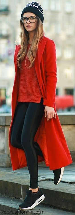 Red winter coat, cozy sweater, imitation leather leggings and sneakers for casual street style.