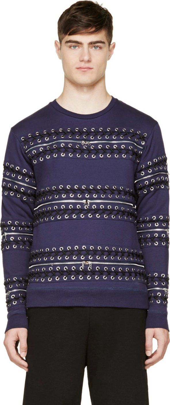 Hood by Air - Navy Detachable Lace-Up Sweatshirt