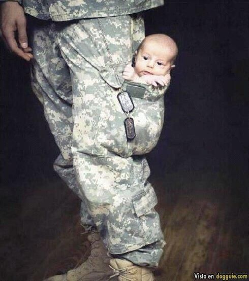 air force baby.. Warms my heart to see army dads and moms being able to love their children<3