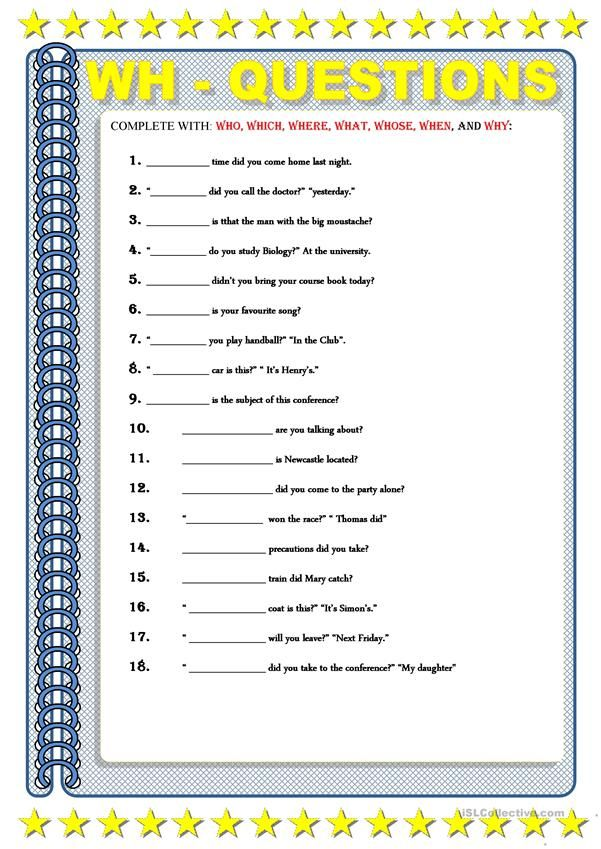 Wh Questions English Esl Worksheets Wh Questions Question Words Question Words Worksheet Wh questions worksheets