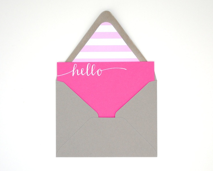 Striped Pink and Grey Stationery Set by Sparrow Nest Script