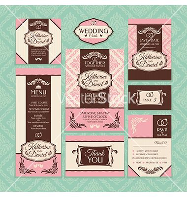 Set of wedding cards vector by ELFY on VectorStock®