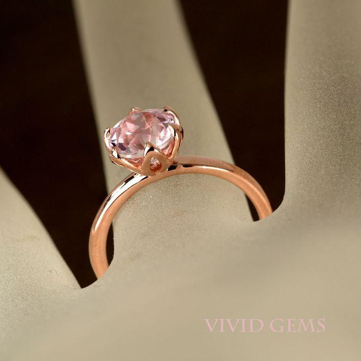 Kunzite Rose Gold Ring, Pink Stone Ring, Tulip Flower Solitaire Ring by VividGemsOnEtsy on Etsy