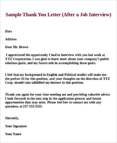sample job interview thank you letter examples pdf word after - Thank You Letter After Job Interview