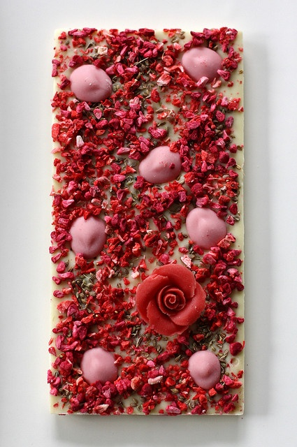 Sweet Anise Chocri custom chocolate bar: White chocolate with raspberry, strawberry, strawberry-chocolate drops, anise seeds and a marzipan rose by the other tiger, via Flickr