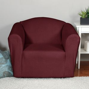 Montgomery II Merlot Chair Slipcover. Deeply embossed box pattern with a soft luscious surface, form fit slip cover upholstery, living room, beautiful interior design, chic home decor