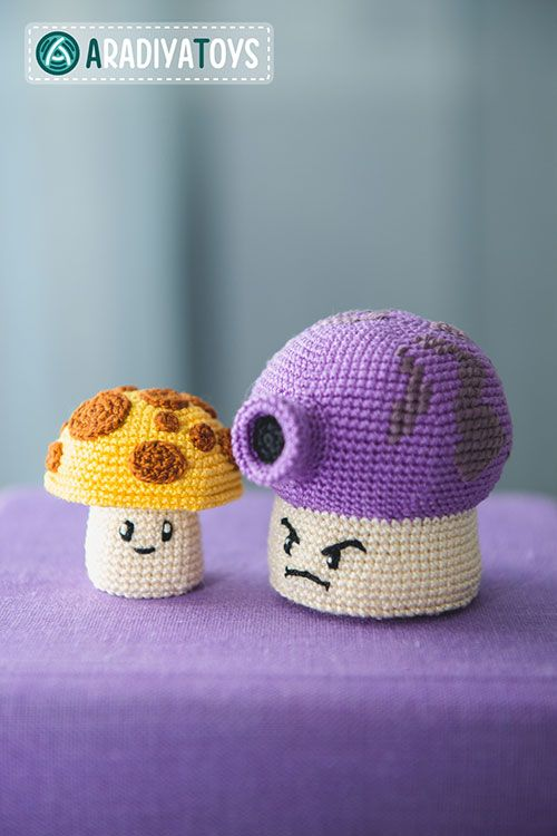 Fume and Sun shrooms (plants vs zombies) amigurumi crochet pattern by AradiyaToys