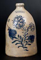 W. H. FARRAR / GEDDES, NY Stoneware Jug w/ Slip-Trailed Decoration