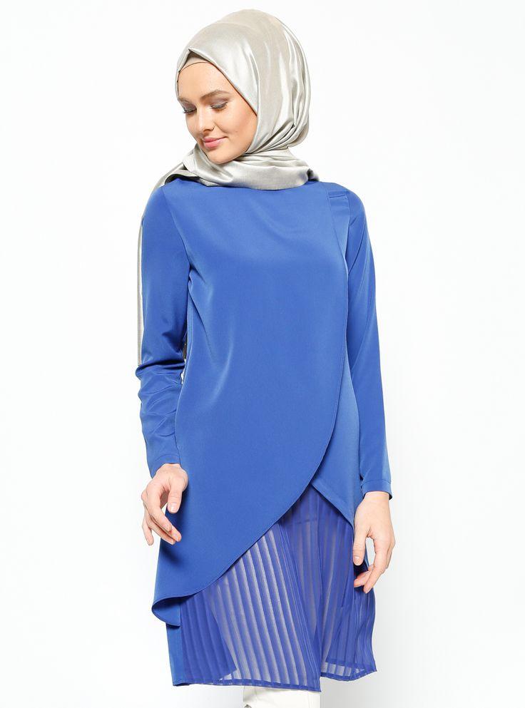 1053 Çizgili Şifon Detaylı Saks Mavi Tunik | Peçem Ferace