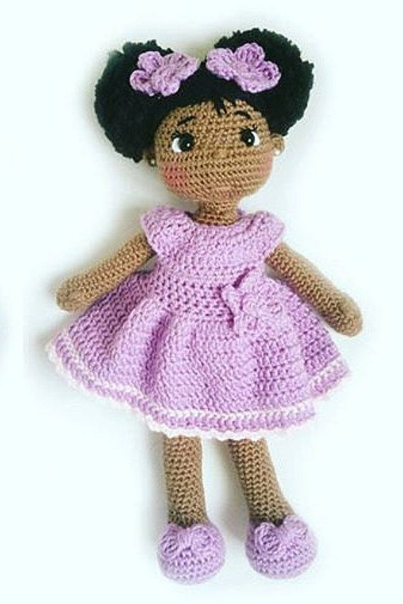 18 Crochet Doll African American Natural by OliviaandMeBoutique