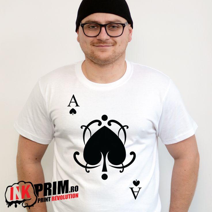 Tricou Personalizat, pentru fete si baieti, Carti de joc, cu mesaj As - Inimă Neagră