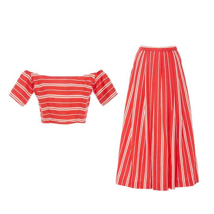 Christine Alcalay striped crop top and midi skirt