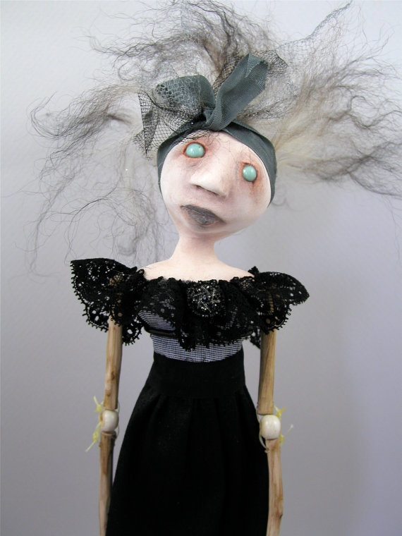 Contemporary Folk Art Witch Doll Cloth Clay ball jointed wood limbs spooky pupiless eyes