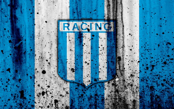 Download wallpapers 4k, FC Racing Club, grunge, Superliga, soccer, Argentina, logo, Racing Club, football club, stone texture, Racing Club FC