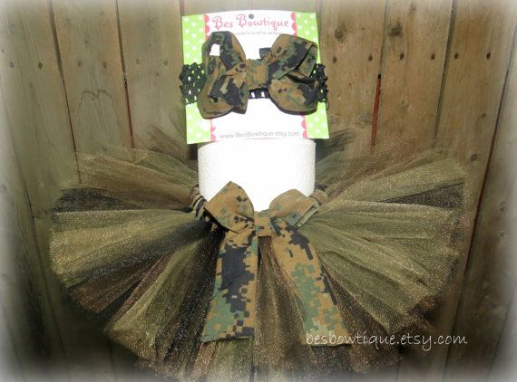 Military Camo Baby Tutu Set Sizes Newborn 12 Months by BesBowtique, $25.00