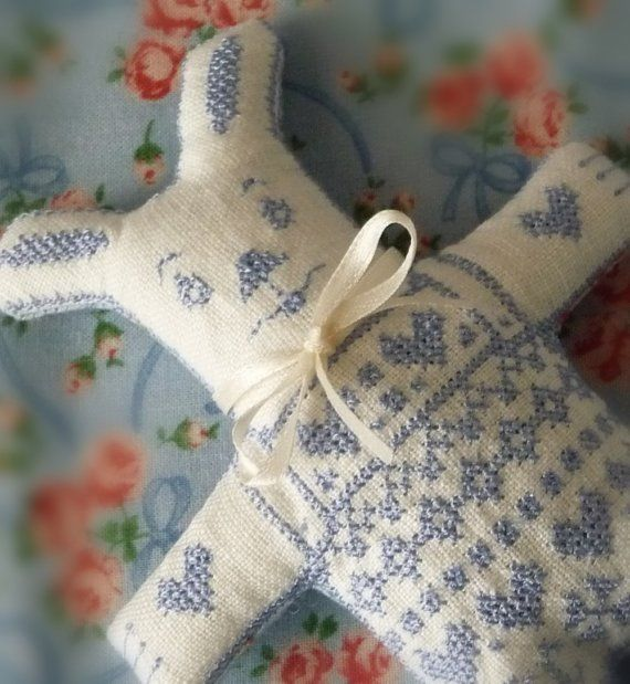 Cross Stitched Blue Rabbit Boy Doll for Easter by CherieWheeler, $20.00