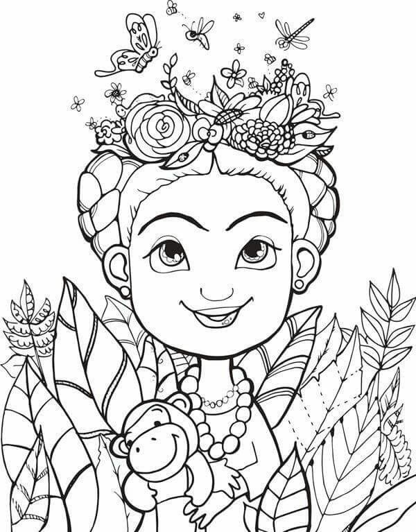 frida kahlo coloring pages | Desenhos para colorir - diversao | Coloring Pages | Frida ...