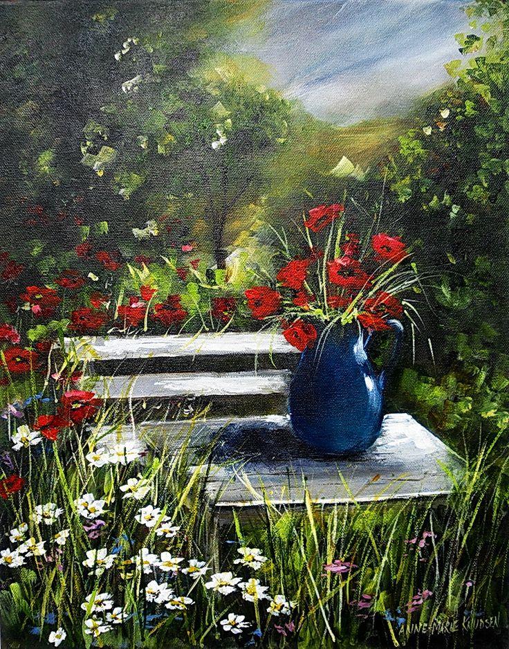 Blomster i det gønne – Acrylic on canvas Original 40x50 cm http://www.artofanne-marie.com/florals/