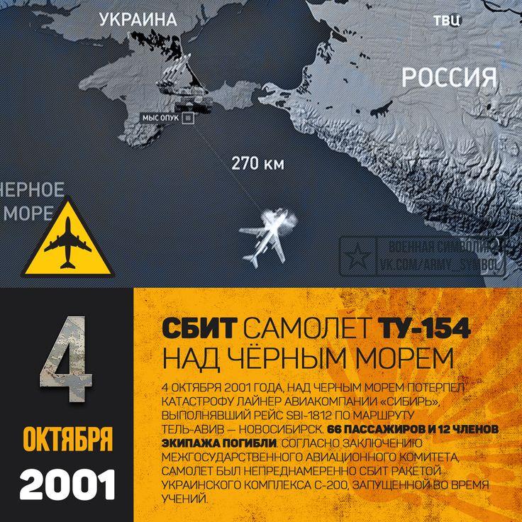 4 октября 2001 года, над Черным морем потерпел катастрофу лайнер авиакомпании «Сибирь», выполнявший рейс SBI-1812 по маршруту Тель-Авив — Новосибирск. 66 пассажиров и 12 членов экипажа погибли. Согласно заключению Межгосударственного авиационного комитета, самолет был непреднамеренно сбит ракетой украинского комплекса С-200, запущенной во время учений. Украина заплатила родственникам погибших пассажиров, но отказалась признать свою вину в происшествии. 3 октября 2001 года Ту-154М борт…